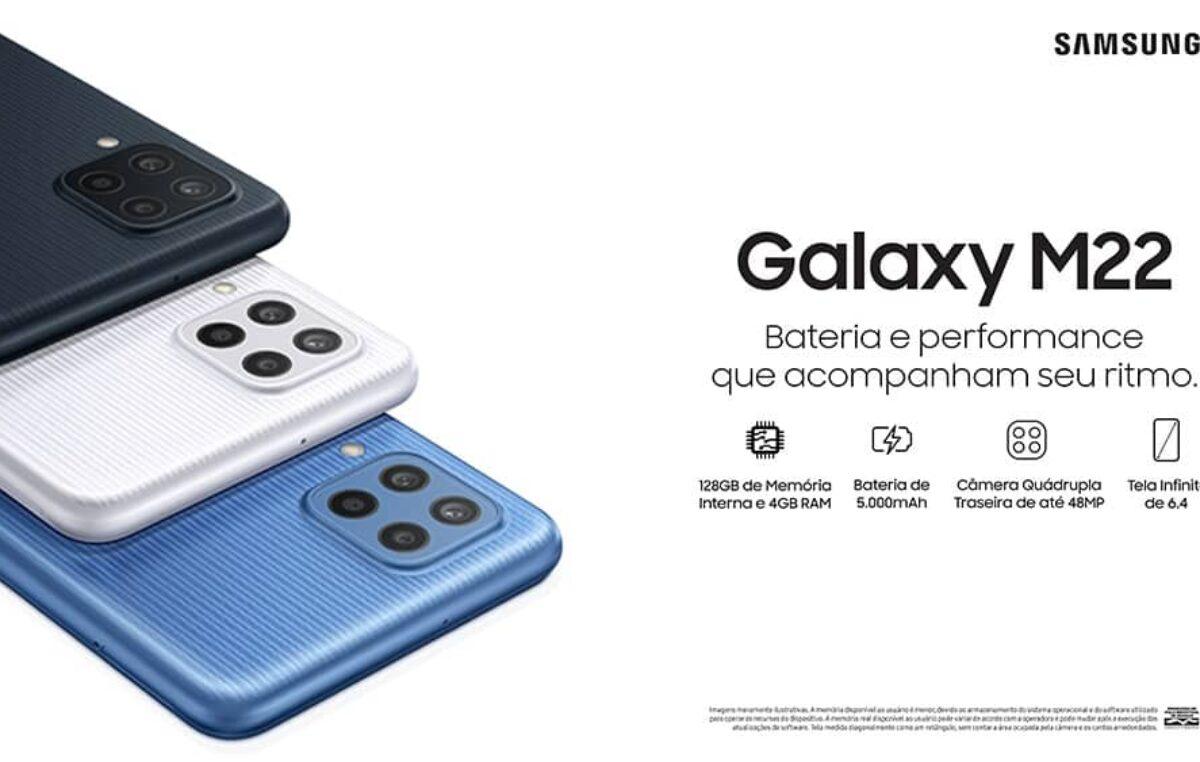 Galaxy M22 chega ao Brasil com bateria de longa duração e processador de alto desempenho